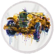 Oldtimer Automobile In Watercolor Round Beach Towel
