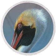 Round Beach Towel featuring the painting Ole Blue Eyes by Mike Brown