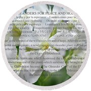 Oleanders For Peace And Hope Round Beach Towel