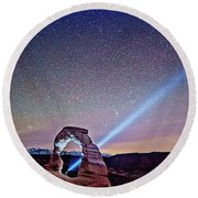 Olena Art Starry Night Pointer At Delicate Arch Moab National Park Round Beach Towel