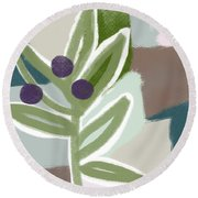 Olive Branch 1- Art By Linda Woods Round Beach Towel