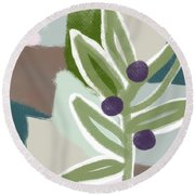Olive Branch 2- Art By Linda Woods Round Beach Towel