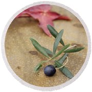 Round Beach Towel featuring the photograph Olive by Cindy Garber Iverson