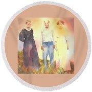 Olive, John And Anna Round Beach Towel by Tara Moorman