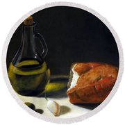 Olive Oil And Bread Round Beach Towel