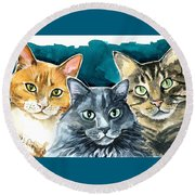 Oliver, Willow And Walter - Cat Painting Round Beach Towel