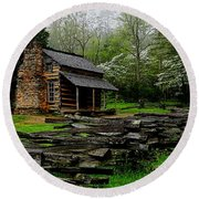 Oliver's Cabin Among The Dogwood Of The Great Smoky Mountains National Park Round Beach Towel