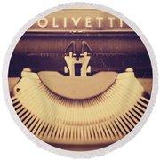 Olivetti Typewriter Round Beach Towel