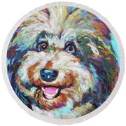 Round Beach Towel featuring the painting Olivia, The Aussiedoodle by Robert Phelps
