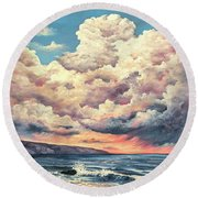 Round Beach Towel featuring the painting Olivine Pools Maui by Darice Machel McGuire