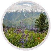 Olympic Mountain Wildflowers Round Beach Towel