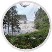 Round Beach Towel featuring the photograph Olympic National Park Beach by Tony Mathews