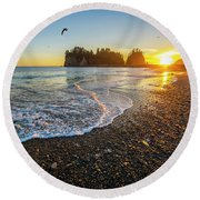 Round Beach Towel featuring the photograph Olympic Peninsula Sunset by Martin Konopacki