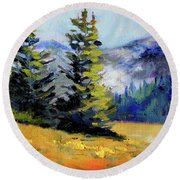 Round Beach Towel featuring the painting Olympic Range by Nancy Merkle