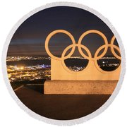 Olympic Rings Portland  Round Beach Towel