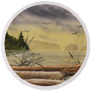 Round Beach Towel featuring the painting Olympic Seashore Sunset by James Williamson