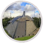 Olympic Ski Jump Oslo, Norway  Round Beach Towel by Allan Levin