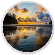 Olympic Sunset Glow Round Beach Towel