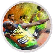 Olympics 100 M Gold Medal Usain Bolt Round Beach Towel