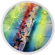 Olympics Rowing 02 Round Beach Towel