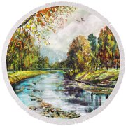 Olza River Round Beach Towel