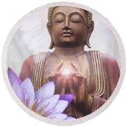 Om Mani Padme Hum - Buddha Lotus Round Beach Towel