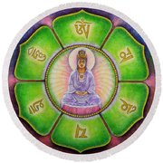 Round Beach Towel featuring the painting Om Mani Padme Hum Kuan Yin by Sue Halstenberg