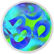 Om Symbol, Green And Blue Round Beach Towel