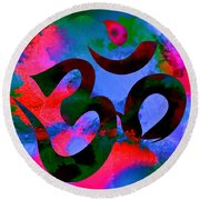 Om Symbol, Hot Pink And Blue Round Beach Towel