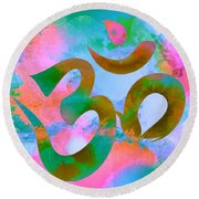 Om Symbol, Pastel Pink,blue And Green Round Beach Towel