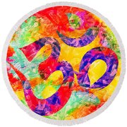 Round Beach Towel featuring the digital art Om Symbol Rainbow 3d Texture by Lita Kelley
