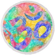 Round Beach Towel featuring the digital art Om Symbol Rainbow Pastels 3d by Lita Kelley