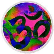 Round Beach Towel featuring the digital art Om Symbol, Rainbow, Ver2 by Lita Kelley