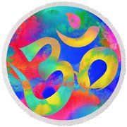 Round Beach Towel featuring the digital art Om Symbol, Rainbow. Ver3 by Lita Kelley