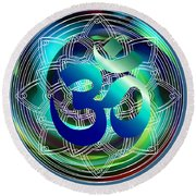 Om Vibration Ocean Round Beach Towel