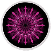 Ombre Pink Flower Mandala Round Beach Towel