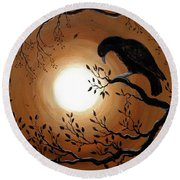 Ominous Bird Of Yore Round Beach Towel