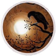 Ominous Bird Of Yore Round Beach Towel by Laura Iverson