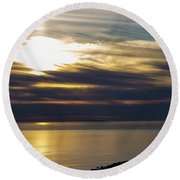 Ominous Sunset Round Beach Towel