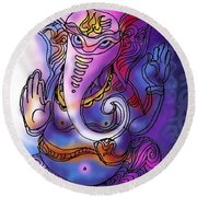 Omkareshvar Ganesha Round Beach Towel