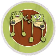 Omti And Itmo Round Beach Towel by Uncle J's Monsters
