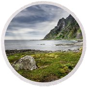 On A Beach Of Andoya Round Beach Towel