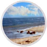 On A Clear Day Round Beach Towel by Judy Palkimas