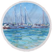 On A Clear Day Round Beach Towel