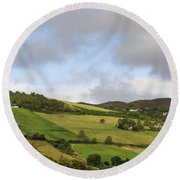 Round Beach Towel featuring the photograph On A Hill by Christi Kraft