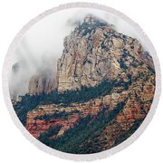 Round Beach Towel featuring the photograph On A Misty Day by Phyllis Denton