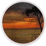On A  Serengeti Evening  Round Beach Towel