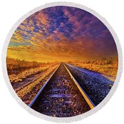 Round Beach Towel featuring the photograph On A Train Bound For Nowhere by Phil Koch