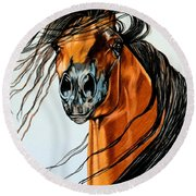 On A Windy Day-dream Horse Series #2003 Round Beach Towel by Cheryl Poland