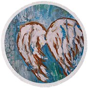 On Angel Wings Round Beach Towel